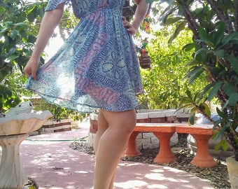 1970s Shoulder-less Hippie Mini Dress