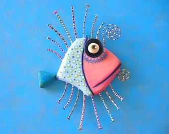Blue Angelfish, MADE to ORDER, Original Found Object Wall Sculpture, Wood Carving, Wall Decor, by Fig Jam Studio