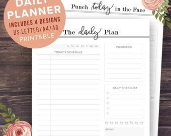 Daily Planner Printable, Letter, A4, A5