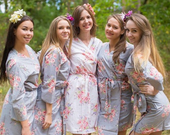 Silver Faded Flowers Bridesmaids Robe Sets Kimono Robes. Bridesmaids gifts. Getting ready robes. Bridal Party Robes. Floral Robes.