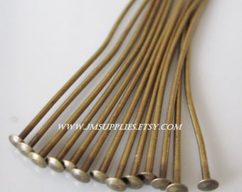 1-1/2 Inch, 22 Gauge Headpin Antiqued Gold