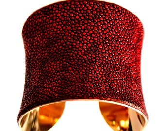 Red Metallic Stingray Gold Lined Cuff Bracelet - by UNEARTHED