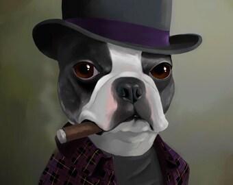 Boston Terrier gift / The Bowler Hat - Boston Terrier Art / Print by Brian Rubenacker