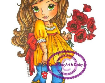 digital stamp, digi stamp, digistamp, Penelope Poppy by Conie Fong, girl, Birthday, Mother's Day, Get Well, Flower, poppy, coloring page