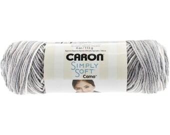 Acrylic Yarn Snow Camo Caron Simply Soft 11005 Snow Camouflage Yarn