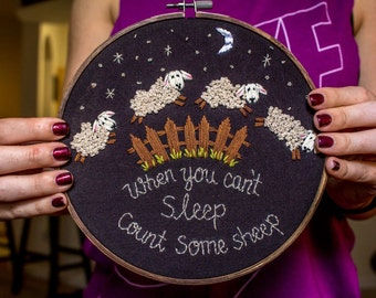 Count Some Sheep Embroidery Hoop