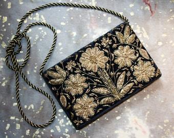 ZARDOZI vintage black clutch with gold embroidery, bag, handbag