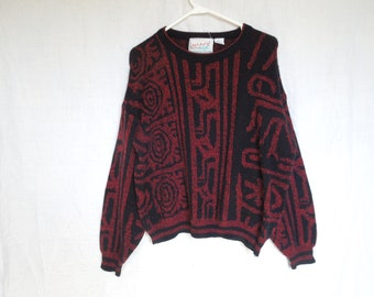 90s Red and Black Aztec Print Knit Sweater