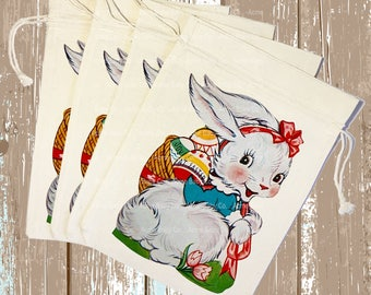 Retro Easter - Large Party Favor Bags - Retro Party Bags - Easter Bunny - Party Gift Bags - Easter Party - 100% Cotton Muslin - 9x12