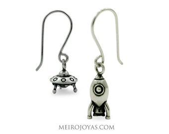 Rocket and Ufo Earrings Sterling Silver / Ovni y Cohete Pendientes Plata 925
