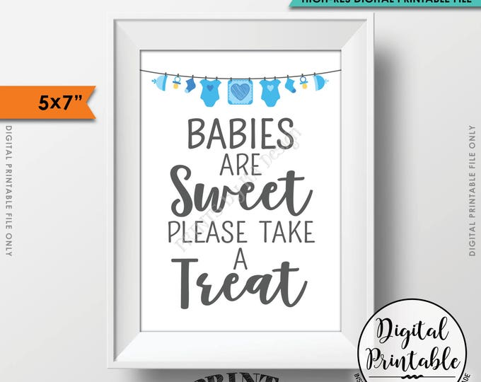 """Treat Sign, Babies are Sweet Please Take a Treat Baby Shower Sign, Sweet Treats Sign, Baby Shower Treats, Printable 5x7"""" Instant Download"""