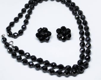 Long Black Glass Bead Necklace and Earrings, 1950s Clip On Cluster Matching Set