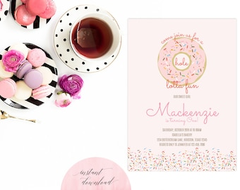 Donut Invitation Instant Download | Donut Party Printable | Donut Invite