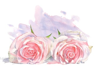 Rose print of watercolor painting PR2216, flower print, pink roses painting, mothers day gift idea, pink floral wall art, 5 by 7 size print