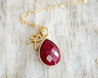 Raw Ruby Necklace July Birthstone Necklace Ruby Jewelry Ruby Pendant July Birthday Gift Rough Ruby Gemstone Necklace Raw Stone Jewelry