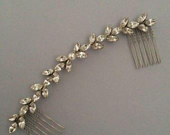 Silver Swarovski Hair Vine,  Bridal Hair Vine, Pearl Hair Vine, Crystal Hair Vine