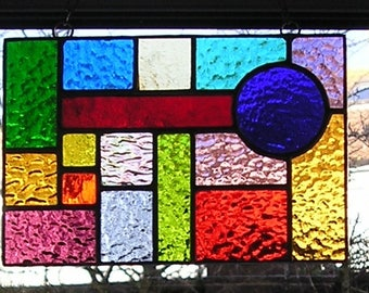 Stained Glass Abstract / Geometric Panel, Suncatcher / Hanging Panel, Handmade in England