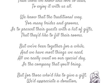 50 POEMS A6 Wedding Money Request Poem to Place Inside Wedding Invitations Cards with Poem Asking for Money Cash Gift Wish List