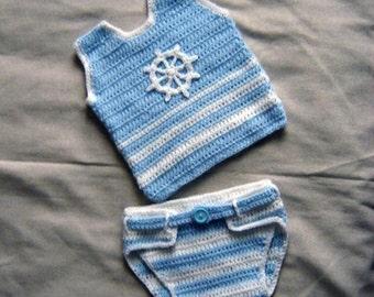 Little Baby Sailor Vest and Diaper Cover Set, Photo prop - INSTANT DOWNLOAD Crochet e-Pattern