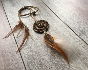 Protection necklace, tiger eye talisman, feather amulet, lucky charm, leather talisman.
