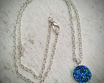 Blue Faux Druzy Necklace Druzy Pendant Navy Blue Necklace Thank you Gift Will You Be My Bridesmaid Gift Blue Druzy Jewelry Sparkly Necklace