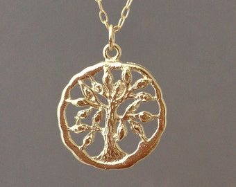 Gold Tree of Life Necklace also in Silver