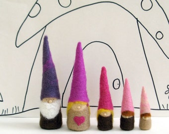 A family of gnome dolls for dollhouse play -waldorf  inspired