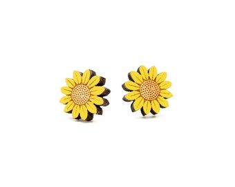 Sunflower earrings ~ laser cut stud earrings