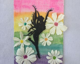 Rainbow Fairy - Mixed Media Painting
