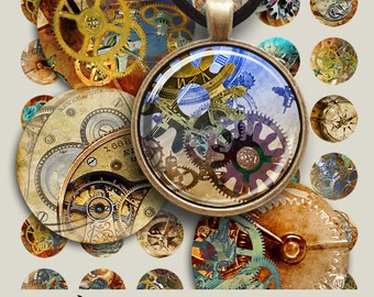 1 inch (25mm) and 1.5 inch round Images STEAMPUNK Printable Digital Collage Sheets for pendant trays bezel cabochons craft art cult graphics