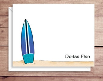 Surfboard Note Cards - Folded Note Cards - Personalized Surfboard Stationery - Surfboard Thank You Notes - Illustrated Note Cards