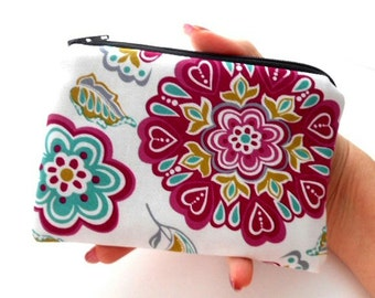 Small Zipper Pouch Coin Purse ECO Friendly Padded Retro Rhapsody