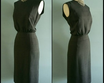 Vintage raw silk little black dress.