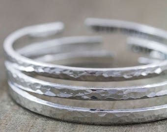 Sterling Cuff Bracelet - Custom Message Bracelet - Personalized Delicate Cuff - Anniversary Gifts for Women - Dainty Silver Jewelry