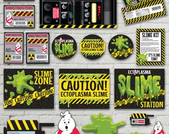 Ghost-busters Party Pack - Silly String Proton Pack Labels, ID Badges, Slime Labels & Signs + MORE   INSTANT Download Printable PDFs
