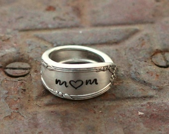 Posey Ring, Silver Spoon Ring, Thumb Ring,Name Ring, Recycled Ring, Stamped Ring, Mom Ring, Mother In Law Gift Idea, Grandma Ring