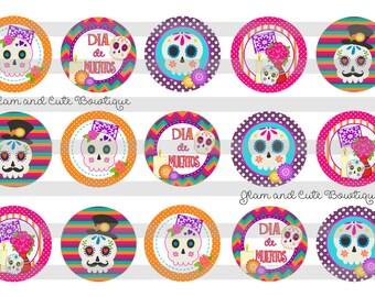 """Dia de Muertos Day of the Dead INSTANT DOWNLOAD Bottle Cap Images 4x6 sheet 1"""" circles"""