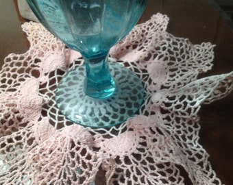 Vintage Hand Crocheted Pink Doily