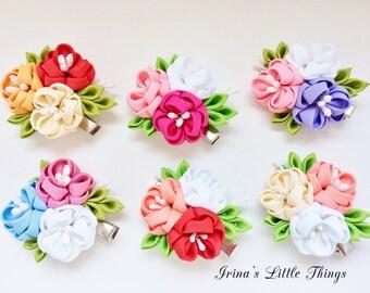 Mini Flowers hair clip. Flowers hair clip. Red flowers hair clips. Pink flowers bouquet. Kanzashi flowers  spring flower hair clip