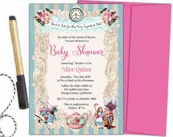 Printable alice in wonderland baby shower invitation, printable alice in wonderland invitations, mad hatter tea birthday invitations,