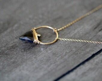 Arrowhead Gemstone Necklace , Smoky Quartz Hoop Stone In Gold , Rose , Sterling , Modern Layering Jewelry - Albatross