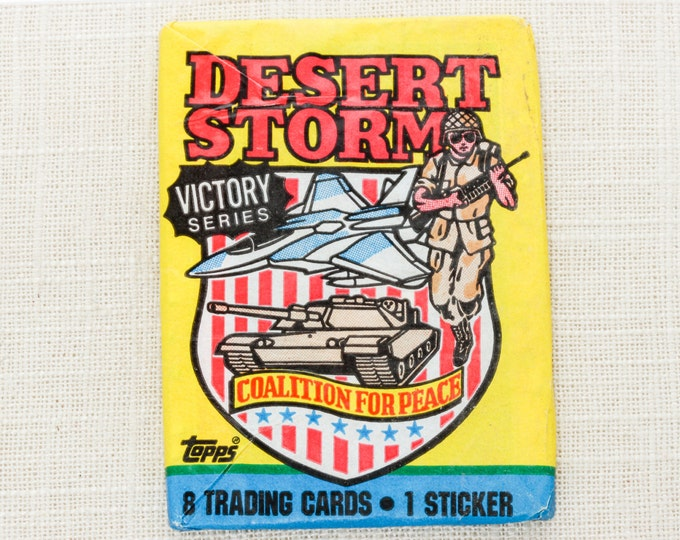 1991 Desert Storm Cards Unopened Vintage 8 Trading Cards & Sticker | TOPPS Victory Series 1990s US Army | New In Package Unopened Deadstock
