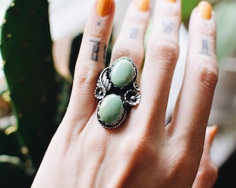 Vintage Stacked Stone Green Turquoise Ring