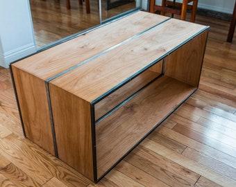 Sleek Modern Minimalist Steel & Mahogany Coffee Table