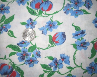 Vintage 1930s/40s Full Cotton Feedsack-Blue and Red Floral No.2