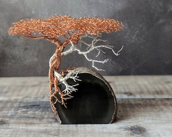 Copper and silver plated copper wire tree on Agate