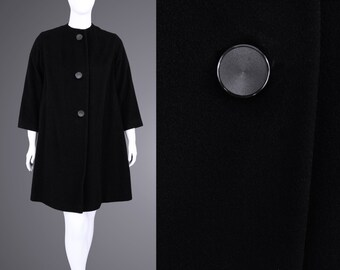 1950's Vintage Women's XL Black Wool 3 Button Swing Coat Evening Collarless