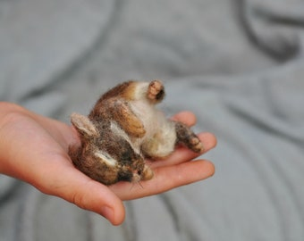 Needle felted sleeping baby rabbit, Ester rabbit, Needle felted bunny.  Felted rabbit,
