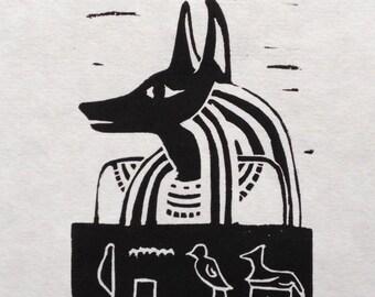 Anubis Original Linocut Print