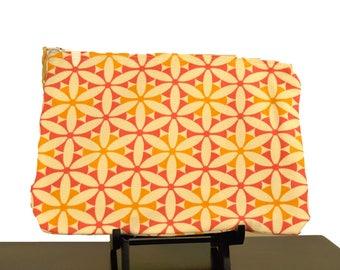 Orange Mustard and Cream zipper pouch